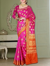 pink silk woven saree -  online shopping for Sarees