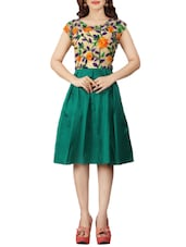 green embroidered taffeta silk fit & flare dress -  online shopping for Dresses