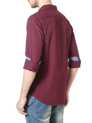 red cotton casual shirt - 14188754 - Standard Image - 3