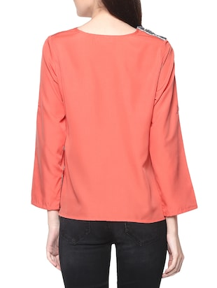 peach poly crepe top - 14191105 - Standard Image - 3