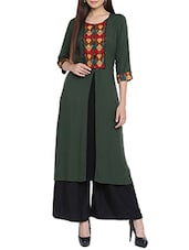 Green rayon straight kurta -  online shopping for kurtas