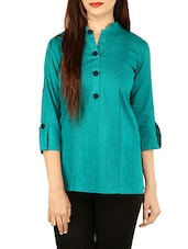 green cotton straight kurti -  online shopping for kurtis