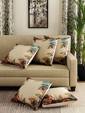 Digital Printed Jute Set of 5 Cushion Cover -  online shopping for Cushion Covers