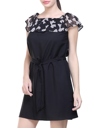 black printed poly crepe belted dress - 14231595 - Standard Image - 3