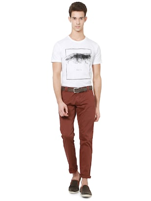 red cotton chinos casual trousers - 14237987 - Standard Image - 3