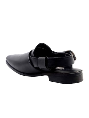 black Leather back strap sandal - 14242152 - Standard Image - 3