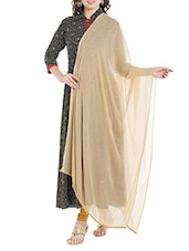 Beige Poly Chiffon Plain Dupatta - By