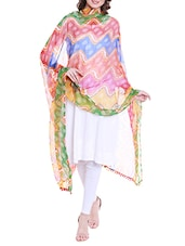 Multi Colored Chiffon Printed Dupatta - By