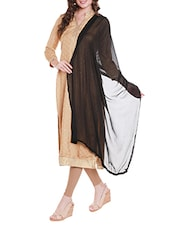 Black Poly Chiffon Plain Dupatta - By