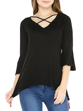 black viscose assymmetric top -  online shopping for Tops