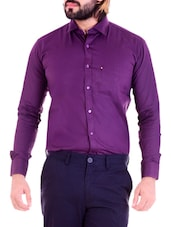 purple cotton formal shirt -  online shopping for formal shirts