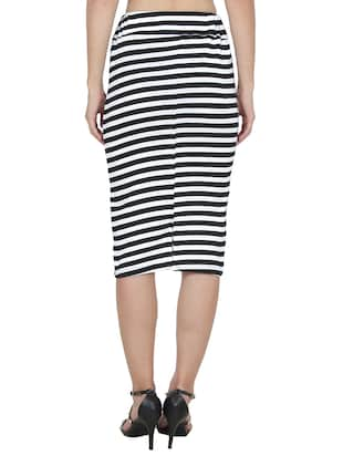 black striped lycra pencil skirt - 14262217 - Standard Image - 3