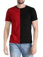 black cotton color block t-shirt -  online shopping for T-Shirts