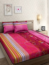 Cotton Red Stripes Double Bed sheet with Two Pillow Covers -  online shopping for bed sheet sets