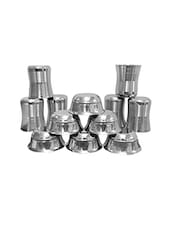 Set of 12 Stainless Steel Glasses and Bowls -  online shopping for Glass Sets