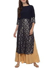 Blue Crepe Foil Printed Straight Kurta - By