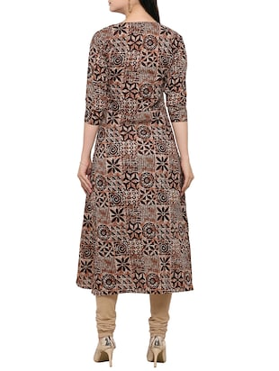 brown cotton flared kurta - 14319202 - Standard Image - 3