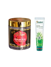Pink Root English Rose Exfoliating Gel Scrub (100gm) With Himalaya Purifying Neem Face Wash (100ml) Pack Of 2 - By