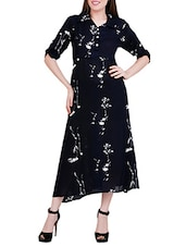 navy blue printed rayon a-line dress -  online shopping for Dresses