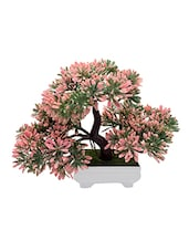 Random 3 Headed Artificial Bonsai Tree with Green and Pink Leaves -  online shopping for Indoor Plants