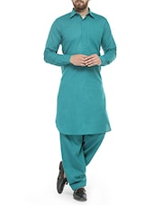 sea green cotton pathani set -  online shopping for ethnic wear sets