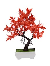 Artificial Bonsai Tree with Red Leaves and White Flowers -  online shopping for Indoor Plants