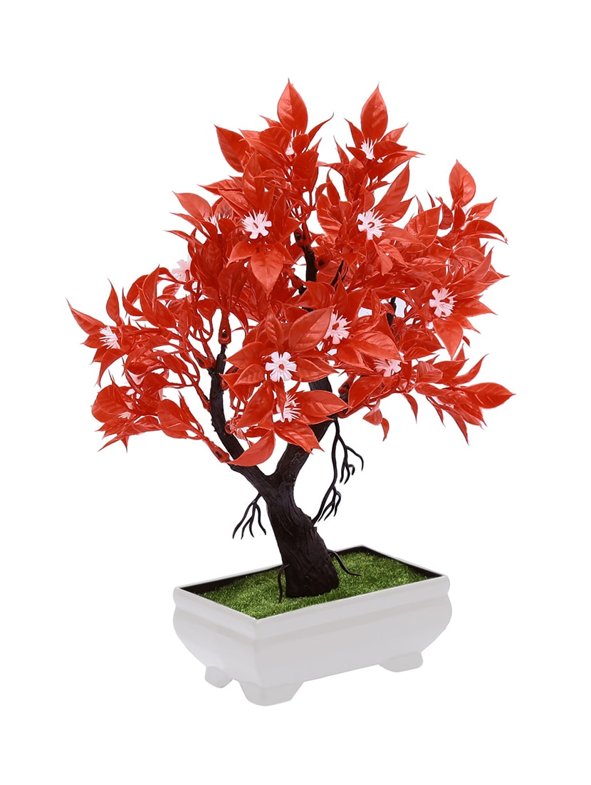Buy artificial bonsai tree with red leaves and white flowers by artificial bonsai tree with red leaves and white flowers 14344238 zoom image 3 mightylinksfo