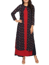 blue crepe layered straight kurta -  online shopping for kurtas