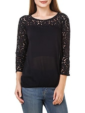 solid black rayon top -  online shopping for Tops