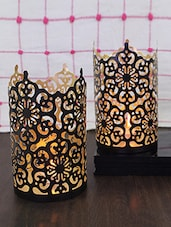Hosley Set of 2 Black-Gold Metal Sleeve - With Free 6 Unscented Tealights -  online shopping for Candle stands