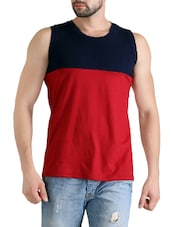 red cotton color block t-shirt -  online shopping for T-Shirts