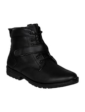 black leatherette high ankle boot -  online shopping for Boots