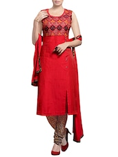 Red chanderi embroidered stitched suit -  online shopping for Stitched Suits