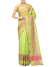 green bordered saree with blouse -  online shopping for Sarees