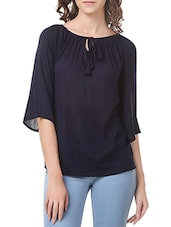 blue rayon casual top -  online shopping for Tops