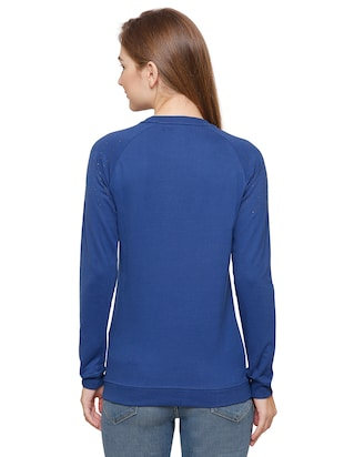 blue cotton casual sweatshirt - 14393354 - Standard Image - 3