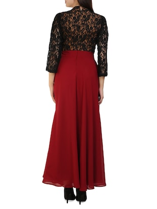 maroon polyester maxi dress - 14394992 - Standard Image - 3
