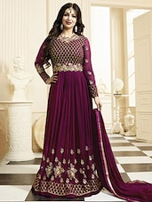 purple georgette anarkali semi-stitched suit -  online shopping for Semi-Stitched Suits