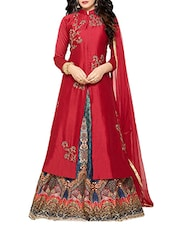 red silk embroidered semi-stitched suit -  online shopping for Semi-Stitched Suits