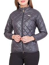 grey polyester quilted jacket -  online shopping for jackets