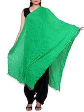 Green Chiffon Plain Dupatta - By