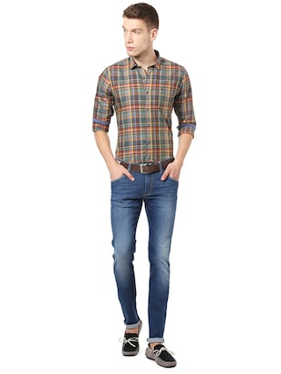 blue cotton plain jeans - 14419391 - Standard Image - 3