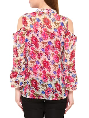 Multi colored floral top - 14419639 - Standard Image - 3