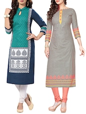 multi colored cotton combo kurta -  online shopping for kurtas