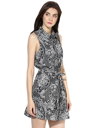 black printed shirt dress - 14422068 - Standard Image - 3
