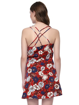 red printed fit and flaredress - 14422243 - Standard Image - 3