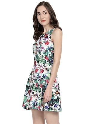 white floral fit & flare dress - 14422291 - Standard Image - 3