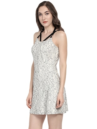white printed fit & flare dress - 14422300 - Standard Image - 3