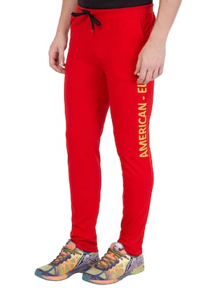 red cotton track pant - 14424831 - Standard Image - 3
