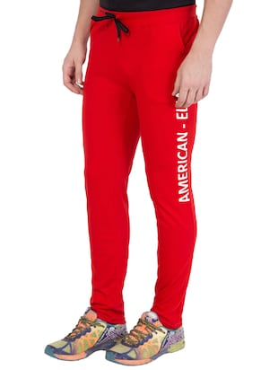 red cotton track pant - 14424833 - Standard Image - 3